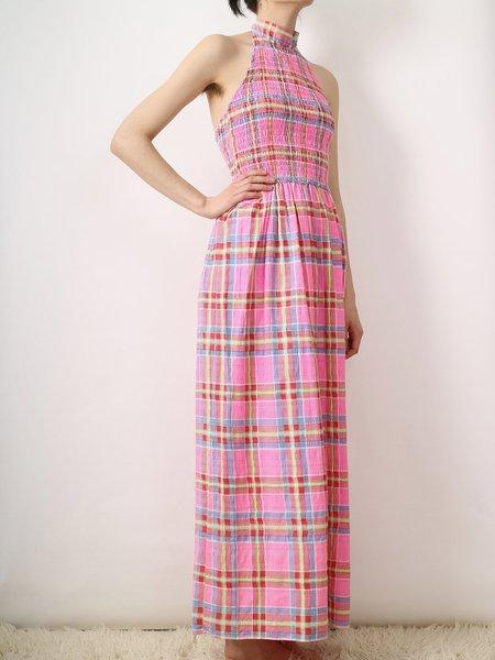 Vintage candy halter dress - pink plaid