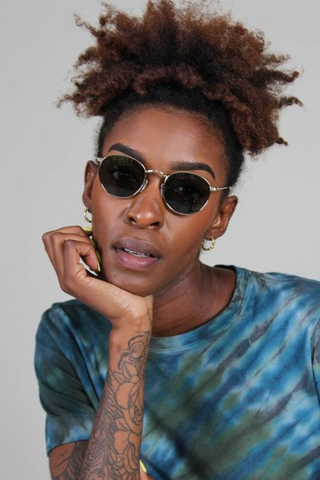 Raen Benson Polarized Sunglasses - Shiny Light Gold Haze/green