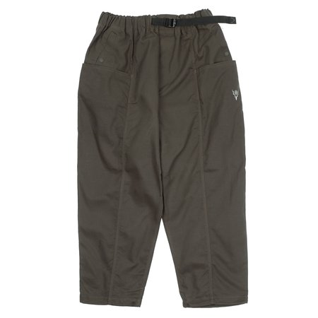 South2 West8 WAXED BELTED CENTER SEAM PANTS - BROWN