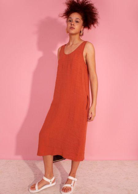 L.F.Markey Basic linen dress - terracotta
