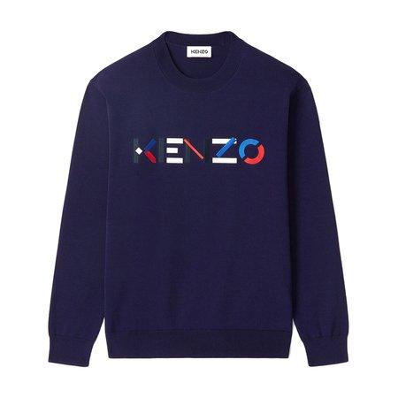 Kenzo Multicolour Logo Cotton Crewneck - Navy