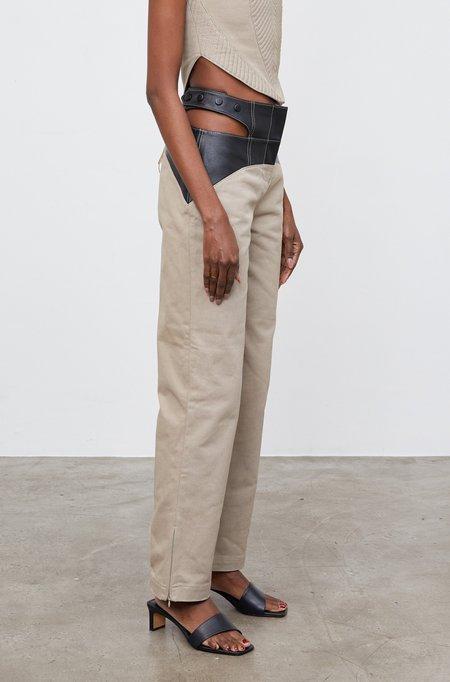 Ceren Ocak Cut Out Denim Pants - Beige
