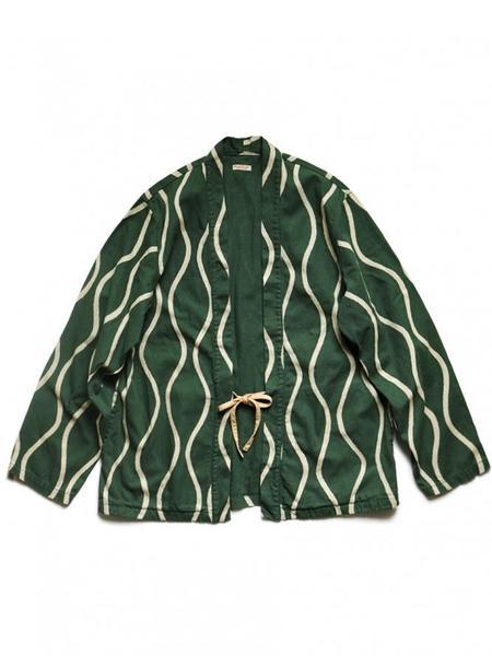 Kapital Cotton Linen Canvas DRUNKEN Stripe KAKASHI Shirt - Green