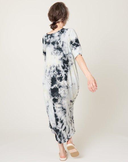 Raquel Allegra Henley Dress - Black Lemon Tie Dye