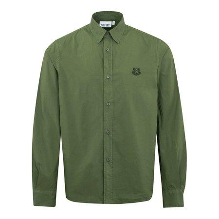 Kenzo Tiger Crest Garment Dyed Cotton Shirt - Olive