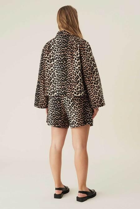 Ganni Low-rise Linen Shorts - Leopard