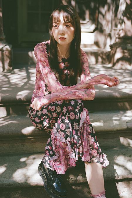 Anna Sui Garden of Posies Mesh Top