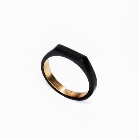 MING YU WANG Matte Black THEOREM Ring