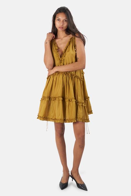 Zimmermann Estelle Draw Frill Mini Dress - Olive