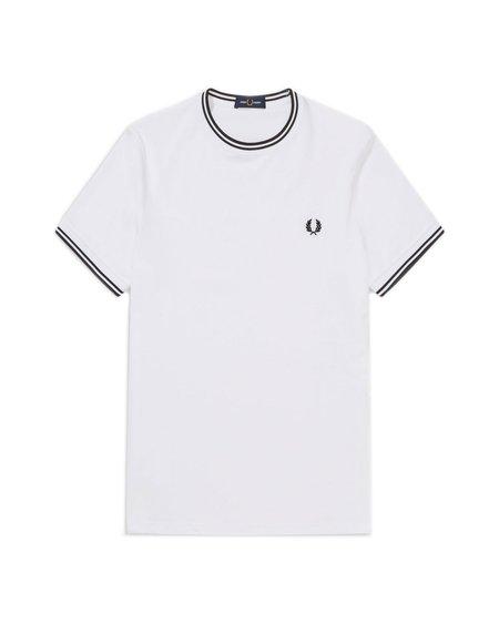 Fred Perry Two Stripe Trim T-Shirt - White