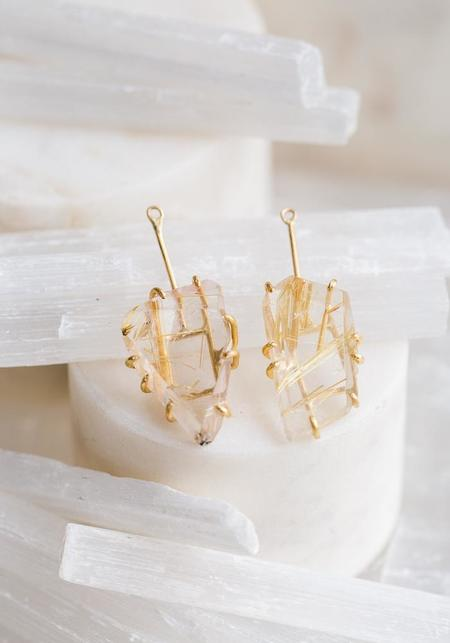 Variance Objects Rutilated Quartz Drops - 14KT-18KT Gold
