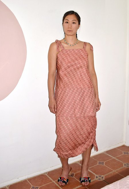 This Woman's Quilted Apron Detail  Work Sun Top - pink