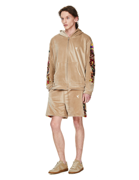 Doublet Velour Zipped Embroidered Hoodie SWEATER - Beige