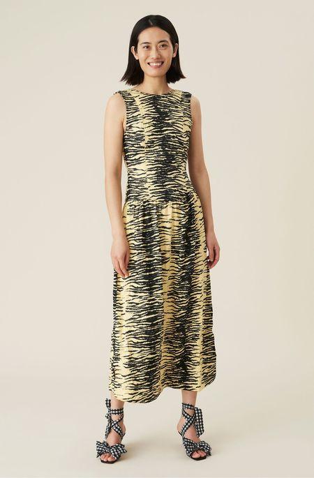 Ganni Crinkled Satin Dress - Pale Banana