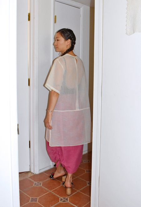 This Woman's Work MINIMAL EXTENDED TEE - EMBOSSED VOILE