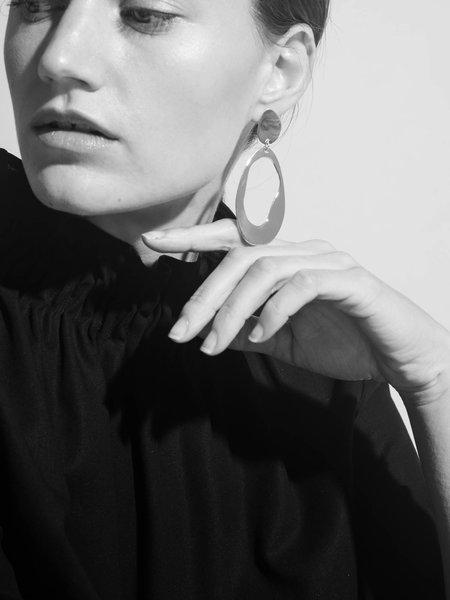 Modern Weaving Oval Loop Earrings - Brass