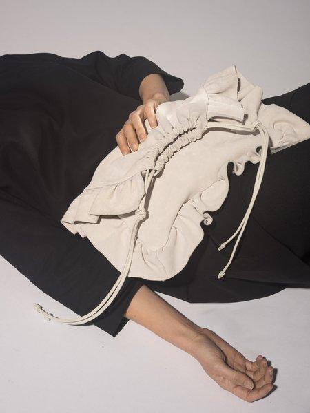 Modern Weaving Pillow Bag - Antique White Suede