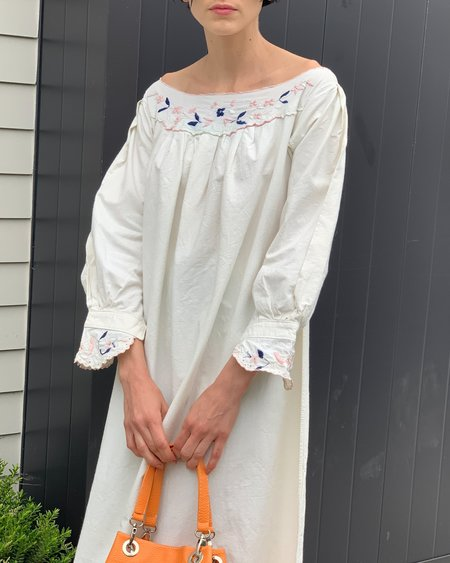 Vintage  Angels Embroidered Dress - white