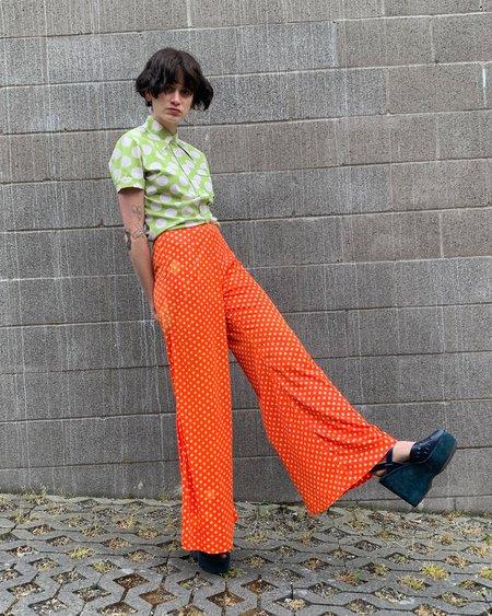 Vintage Dot Flares pants - Tangerine