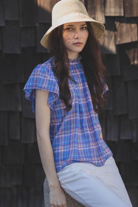 Trovata Carla High Neck Shirt - Montauk Plaid
