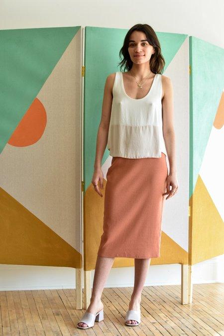 Valerie Dumaine Sammon Rib Skirt - Spicy Coral
