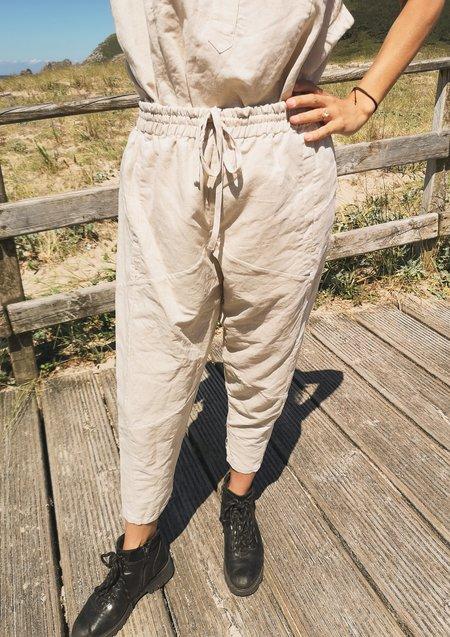 Berenik Linen Patchwork Pants - Natural White