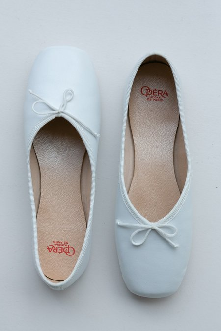 Vintage Square Ballet Pump - Blanc