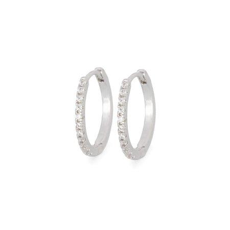 Tai Mini Huggie Earrings with CZ All Around - Silver