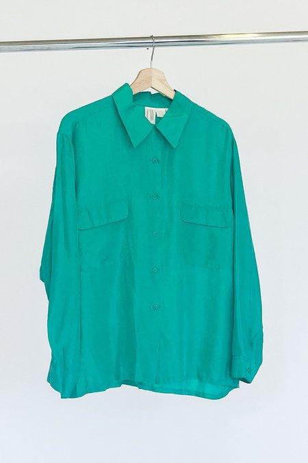 Vintage Silk Blouse - Aqua