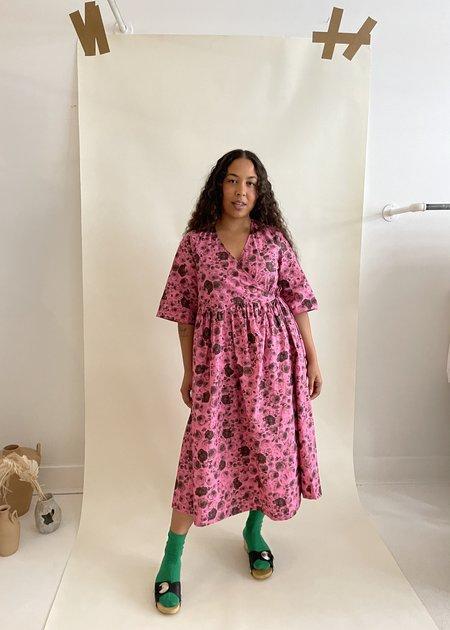 Ganni Cotton Poplin Wrap Dress - Shocking Pink