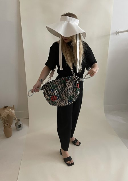 Ganni Fishnet Drawstring Mini Shoulder Bag - Brazilian Sand