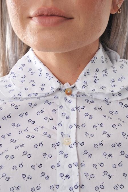 Pipsqueak Chapeau Double Petal Collar Long Sleeved Shirt - Blue Daisy
