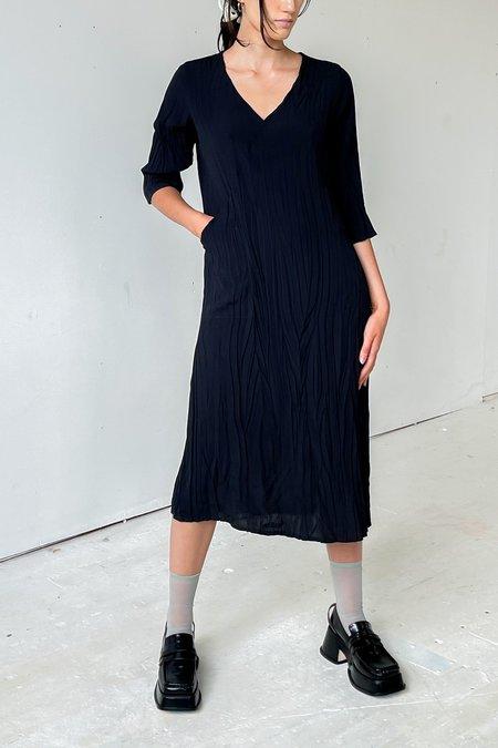 Vintage Pleated Crinkle Dress - black