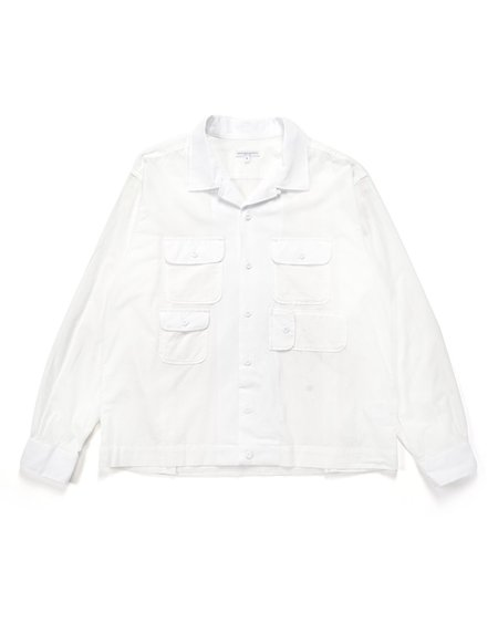 Engineered Garments Solid Cotton Lawn Bowling Shirt - White