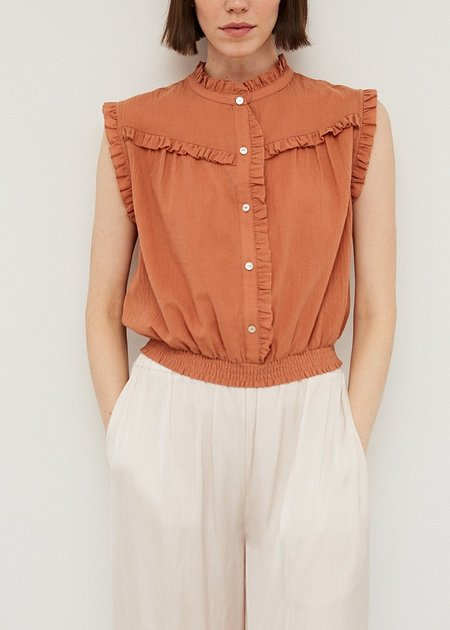 Mabel and Moss Felicia Mandarin Collared Button up Blouse - Apricot