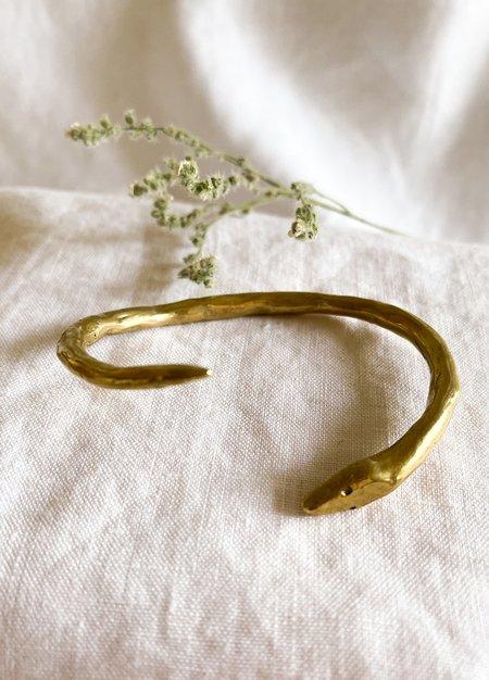 Dea Dia Golden Snake Twist Cuff - Yellow Brass.