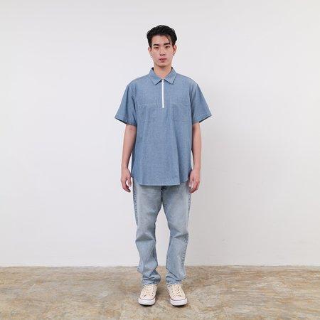 Engineered Garments 4.5oz Cotton Chambray half zip shirt - Indigo
