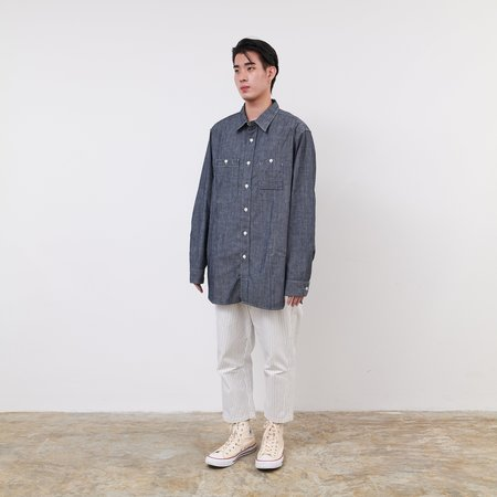 Engineered Garments Cotton Chambray Work Shirt  - Blue