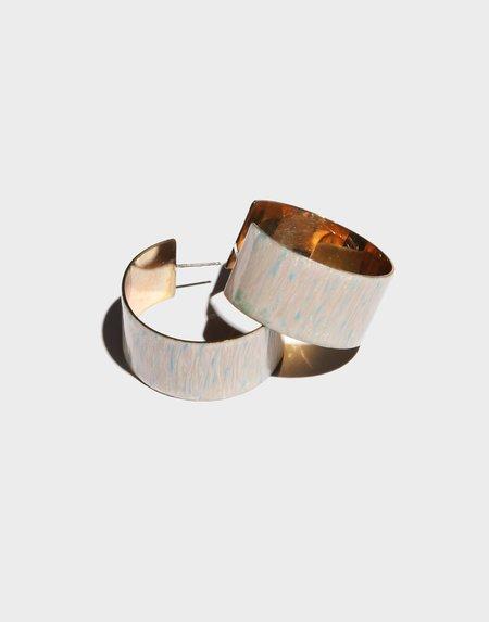 Modern Weaving Enamel Flat Hoop Earrings - Brass/Pearlescent Enamel