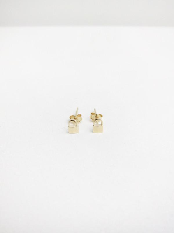 Lauren Klassen Tiny Padlock Earrings, 14k Gold