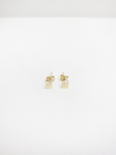 Lauren Klassen Tiny Padlock Earrings, 14k Gold