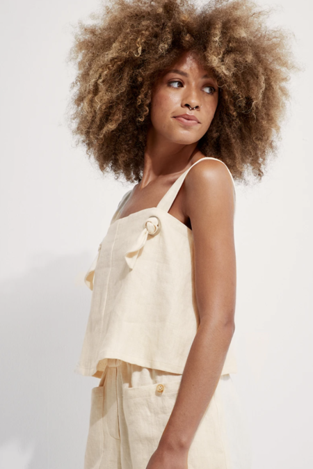 Back Beat Rags Linen Knotted Cami - Creme