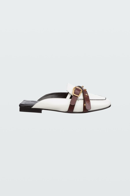 Dorothee Schumacher Chic Coolness College Flat - Camellia White/Brown