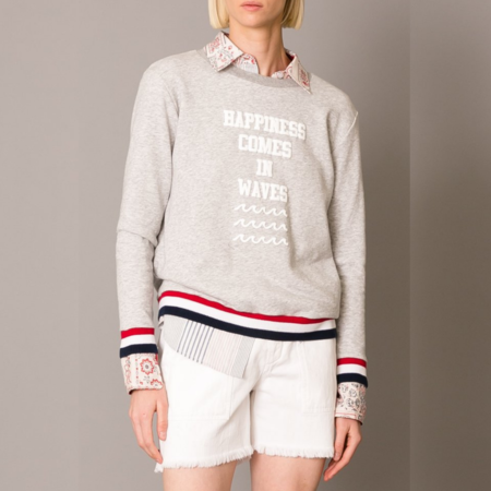 Le Superbe Happiness Comes In Waves Sweatshirt - Heather Grey
