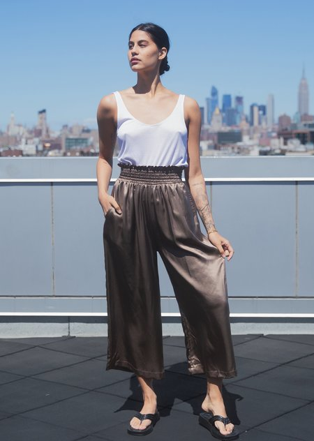 Athena Newton Silk Charmeuse Wide Leg Cropped Pants - Gold