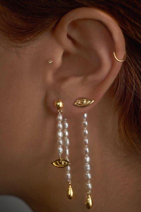 Pamela Love Crying Eye Earrings - Lapis/Gold