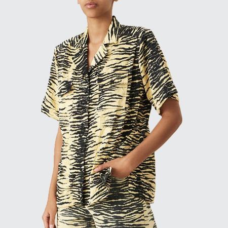 Ganni  Crinkled Satin Shirt - Pale Banana