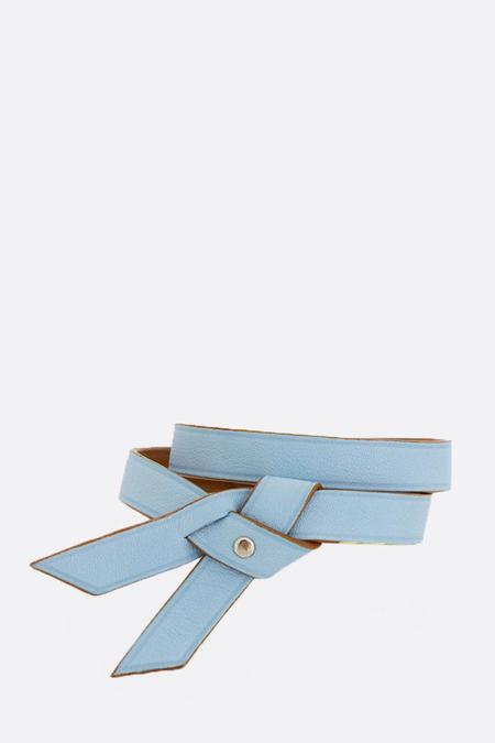 Phi 1.618 Double Twist Leather Bracelet - Light Blue