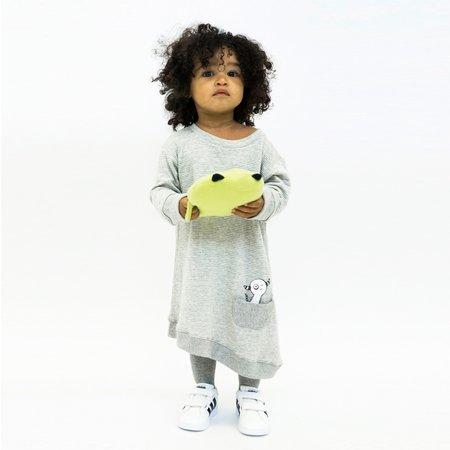 Kids Bash + Sass Asymmetric Dress - Grey Skinny Stripes