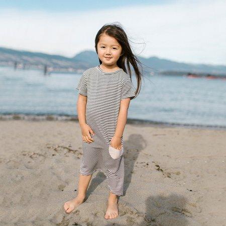 Kids Bass + Sass Asymmetric T-shirt Dress - Black/White Stripes
